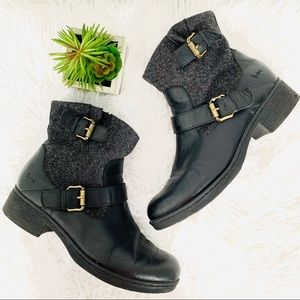 Boc leather/ material black ankle booties size 9